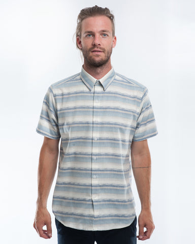 Cotton Desert Stripes Short Sleeve Shirt Front