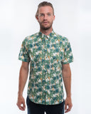 Cotton White Palms Short Sleeve Shirt Front