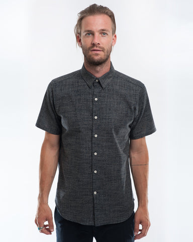 Cotton Indigo Dots Short Sleeve Shirt Front
