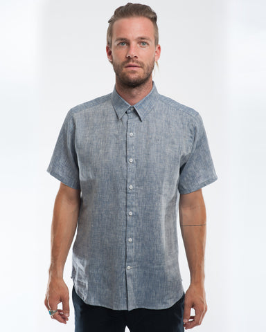 Linen Extra Neppy Indigo Chambray Short Sleeve Shirt Front
