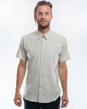Cotton Soft Blue Short Sleeve Shirt Front