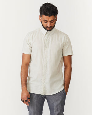 Short Sleeve Dylan | Light Melange Herringbone