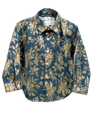 Long Sleeve Shirt | Gold Floral