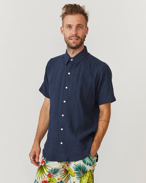 Short Sleeve Dylan | Navy Gauze