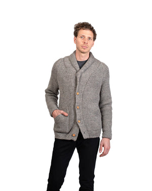 Knit Cardigan | Saddleworth Mist Wool