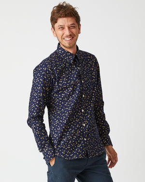Dylan Shirt | Indigo Golden Flowers