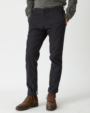Slim Casual Trouser | Black Brushed Twill