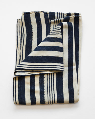 Indigo Blanket Scarf | Cream Navy Stripe