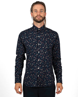 Men's Long Sleeve Navy shirt with small-scale floral pattern - front
