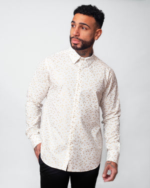 Dylan Shirt | White Golden Flowers