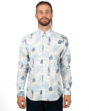Faded Flora Printed Shirts For Men | front