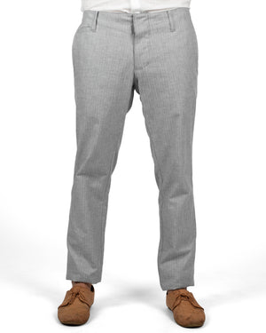Slim Trousers | Light Grey Herringbone