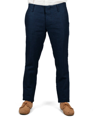 Slim Trousers | Navy French Linen