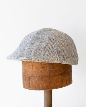 Wool Duckbill Cap | Grey Herringbone Wool