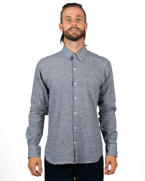 Lake Blue Linen textured Long Sleeve Men's Shirts | front