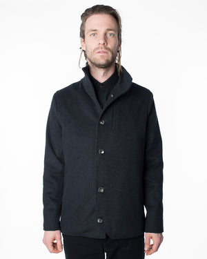 Mens Black Wool Coat | 18 Waits | Front | Closed