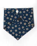 cotton navy with cream flowers bandana back