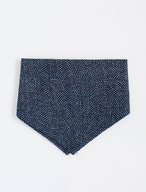 Kids Bandana Bib Handkerchief - Navy with white dots - front