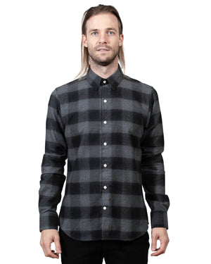 Grey Plaid Button Up Shirt | 18 Waits | Front