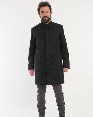 Black Wax Cotton Trench - front