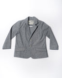 cotton pinstripe chambray blazer front