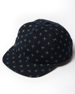 cotton indigo crosshatch cap front