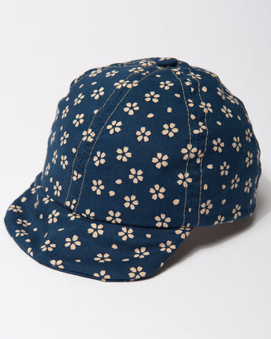 Navy with Cream Flowers Cap front