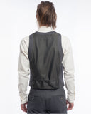 Charcoal Herringbone Suit Vest - back