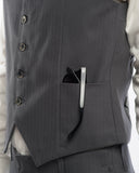 Charcoal Herringbone Suit Vest - detail