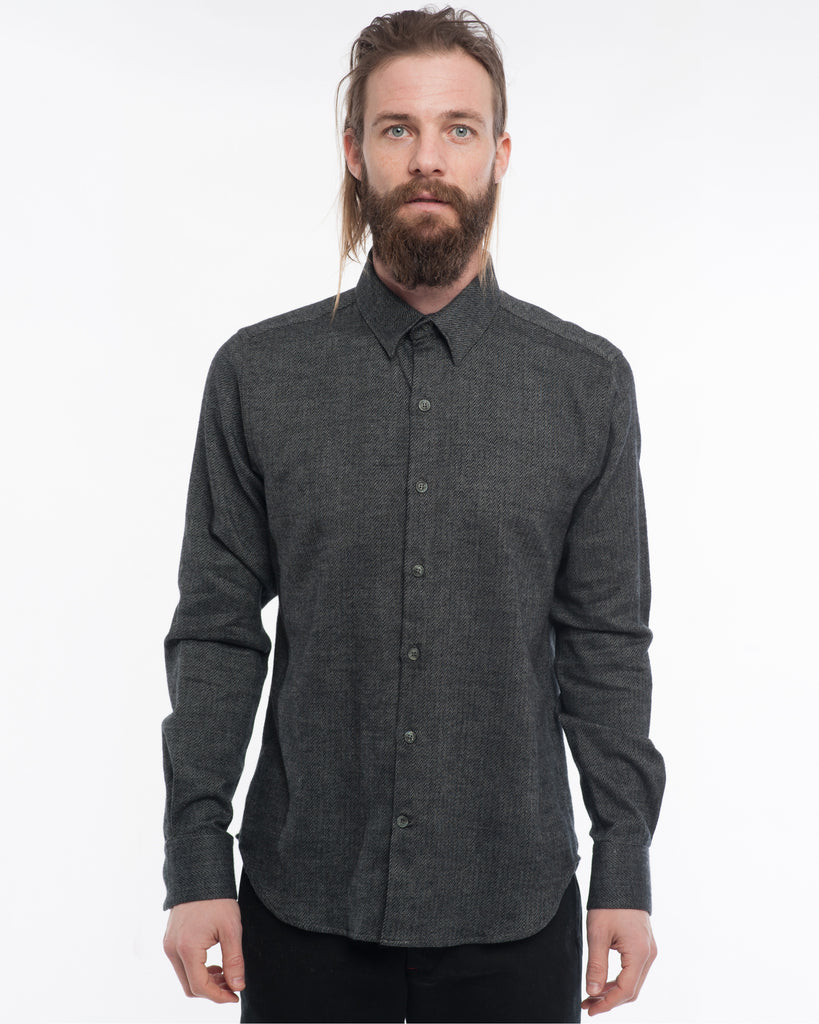 The Dylan Long Sleeve Shirt | Charcoal Mix Flannel