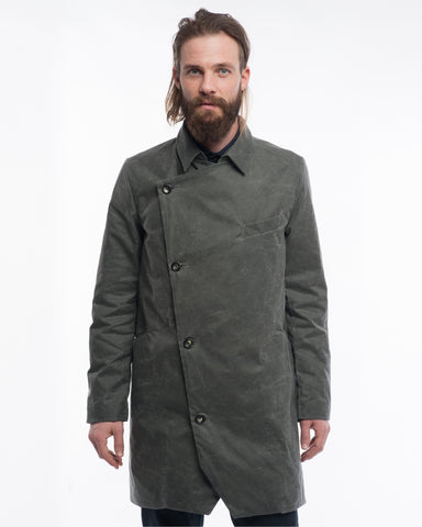 Grey Waxed Cotton Trench Coat
