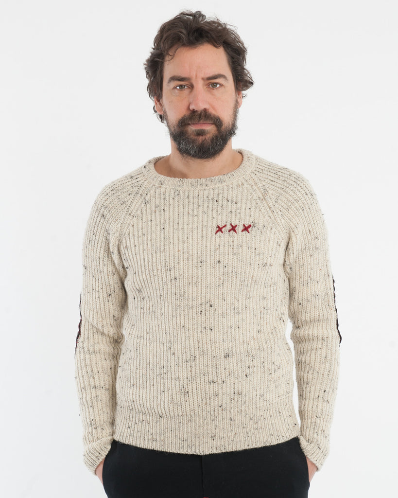 Cream Melange Wool Sweater - front