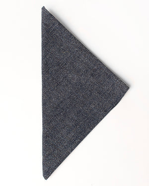 Bandana Handkerchief - Navy with White Dots - folded