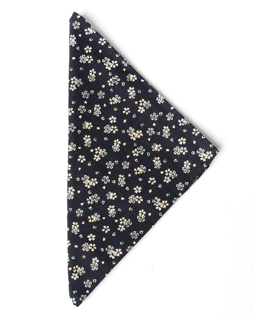 Men's Bandana Handkerchief Navy with Flowers and Hearts Print - folded
