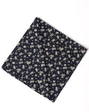 Men's Bandana Handkerchief Navy with Flowers and Hearts Print - unfolded