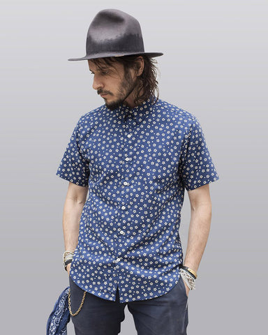 Small Batch | Blue with Cream Flowers Dylan Shirt