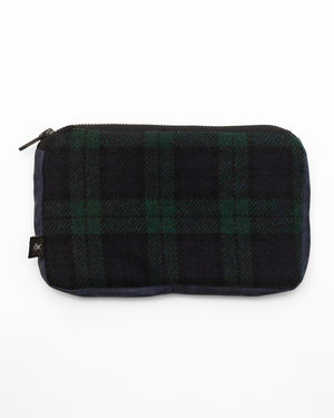 Pouch | Forest Plaid/Navy Waxed Cotton