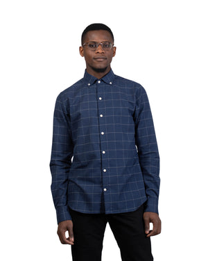 Windsor Shirt | Navy Windowpane