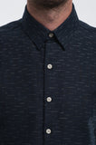 Cotton Indigo Dashes Long Sleeve Shirt Front Detail