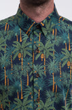 Cotton Navy Palms Short Sleeve Front Detail
