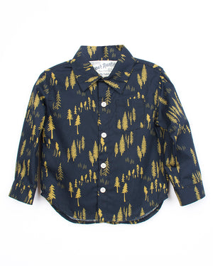 Kids Navy Gold Button Up Shirt | Hopper Hunter | Front