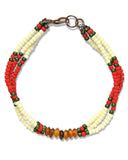 Fortune Goods Montagnard Bead Bracelet in Red/Cream/Amber