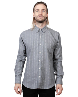 Grey Button Up Shirt | 18 Waits | Front