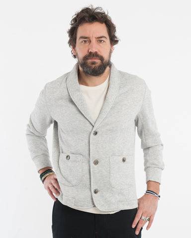 Grey Fleece Cardigan - front