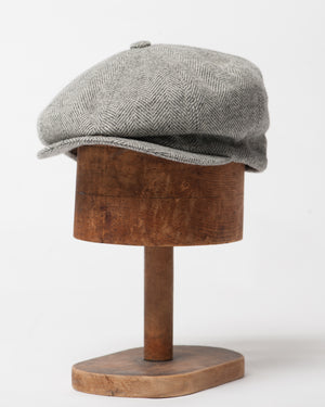 Bruce Cap | Grey Herringbone Wool