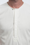 Cotton Off-White Henley Front Detail