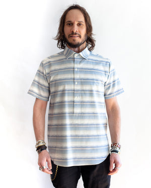 Men's Short Sleeve Blue Stripe Pullover Shirt - front