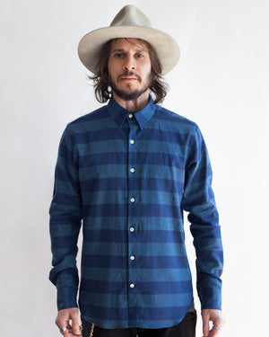 Men's Long Sleeve Button Up Shirt - Blue/Navy Stripe - front
