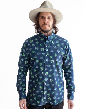 The Dylan Shirt Long Sleeve | Navy Palms Seersucker
