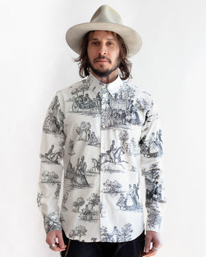 Men's Long Sleeve Button Up Shirt - Living Dead Print - front